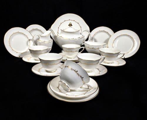 Vintage Royal Doulton Rondo h4935 Tea Set for 6 People / Teapot / Trio 22 Piece